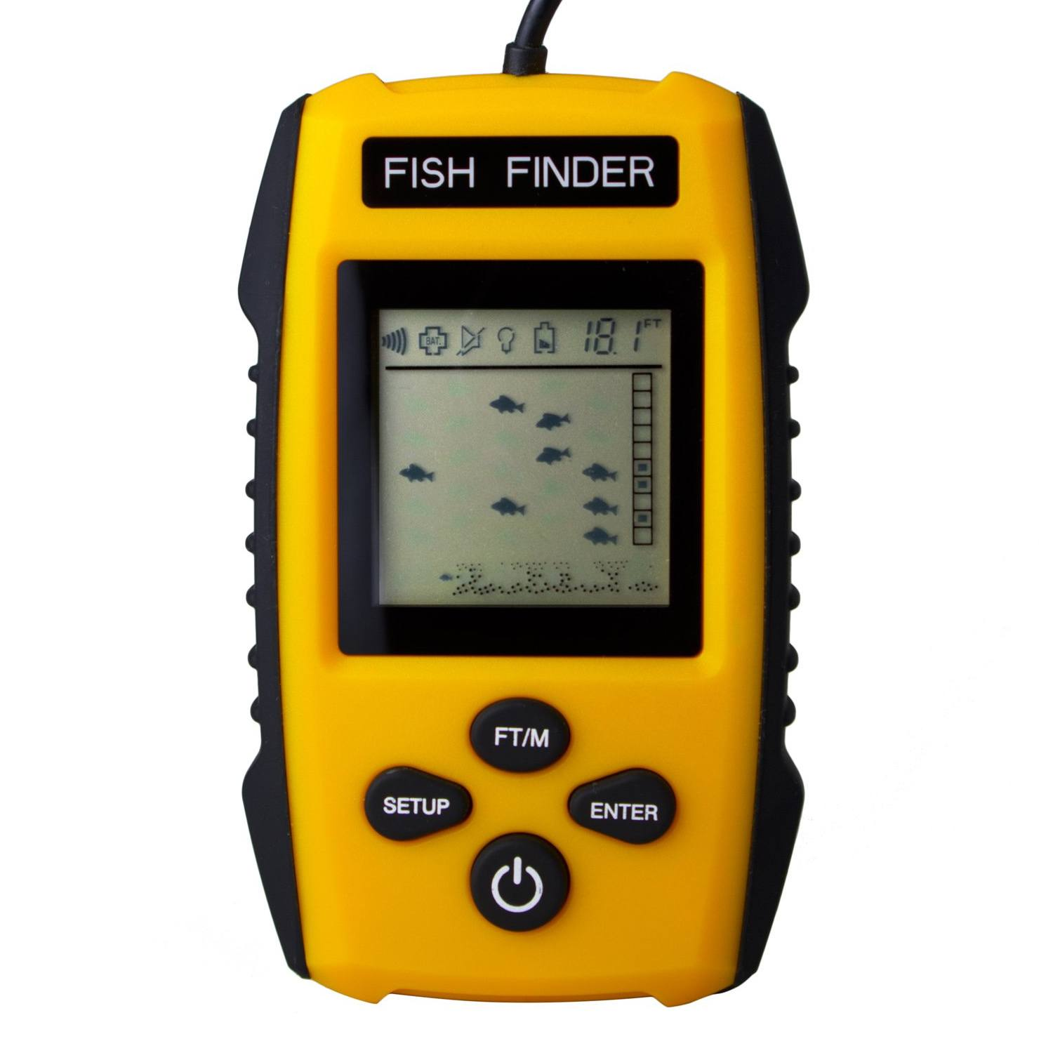 Venterior Portable Fish Finder with Wired Sonar Sensor Transducer and LCD Display